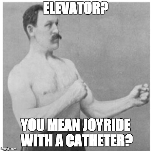 Overly Manly Man on elevators